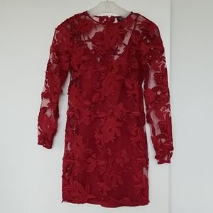 Topshop Embroidered Red Dress